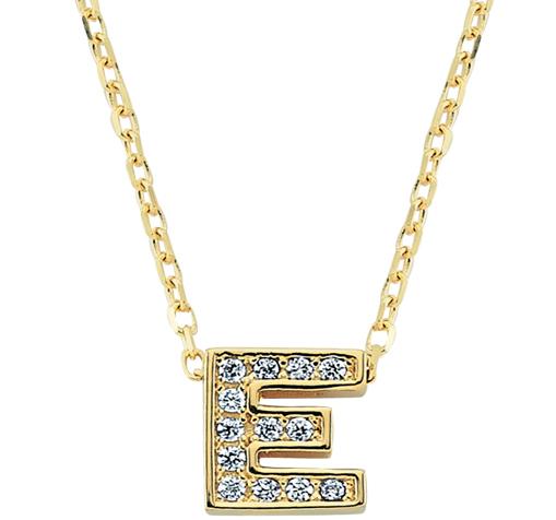 Gemmed Letter E Pendant Gold Necklace