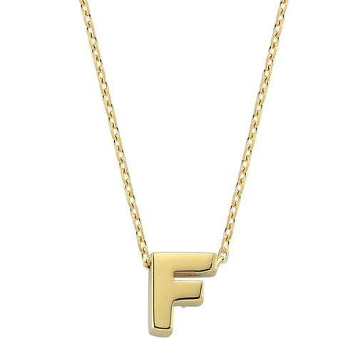 Women's Letter F Pendant Gold Necklace