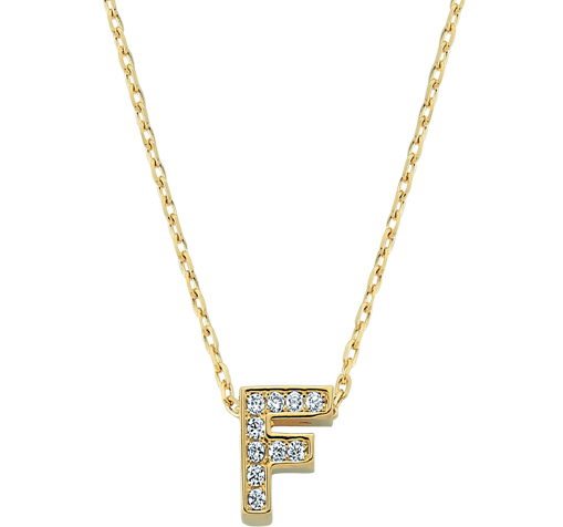 Gemmed Letter F Pendant Gold Necklace