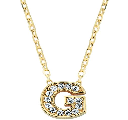 Women's Gemmed Letter G Pendant Gold Necklace