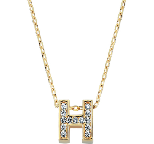Gemmed Letter H Pendant Gold Necklace
