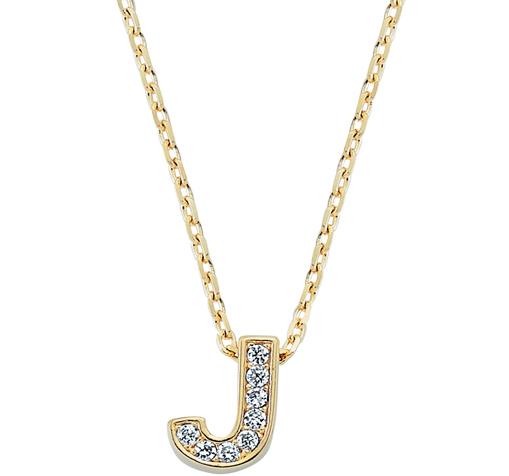 Women's Gemmed Letter J Pendant Gold Necklace