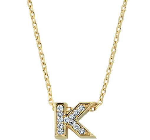 Women's Gemmed Letter K Pendant Gold Necklace