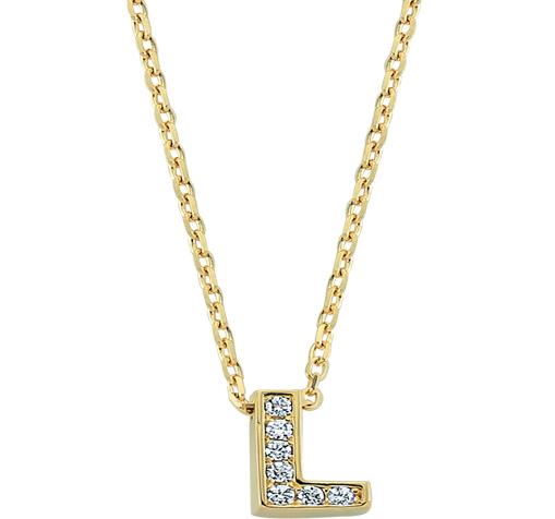 Gemmed Letter L Pendant Gold Necklace