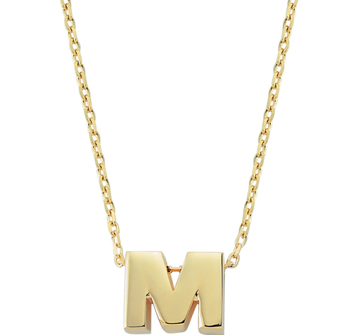 Women's Letter M Pendant Gold Necklace