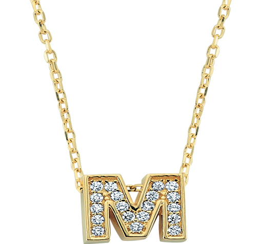 Women's Gemmed Letter M Pendant Gold Necklace