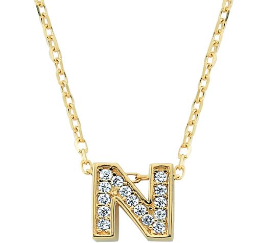 Gemmed Letter N Pendant Gold Necklace