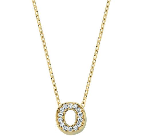 Women's Gemmed Letter O Pendant Gold Necklace