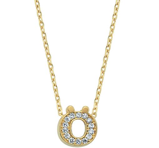 Women's Gemmed Letter Ö Pendant Gold Necklace