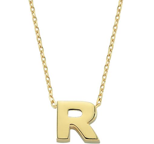 Women's Letter R Pendant Gold Necklace
