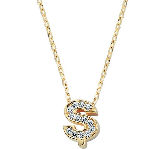 Women's Gemmed Letter Pendant Gold Necklace