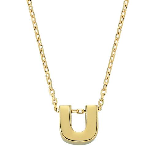 Women's U Letter Pendant Gold Necklace