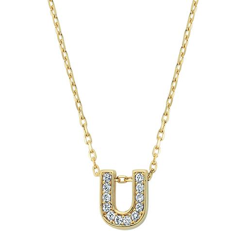 Women's Gemmed U Letter Gold Necklace