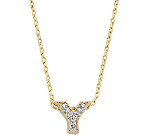 Women's Gemmed 'Y' Letter Pendant Gold Necklace