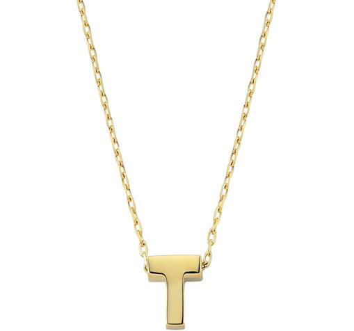 Women's T Letter Pendant Gold Necklace