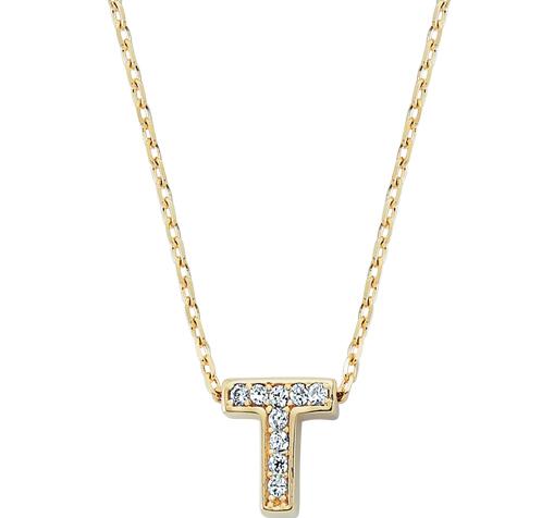 Women's Gemmed T Letter Gold Necklace