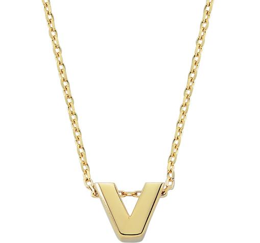 Women's V Letter Pendant Gold Necklace