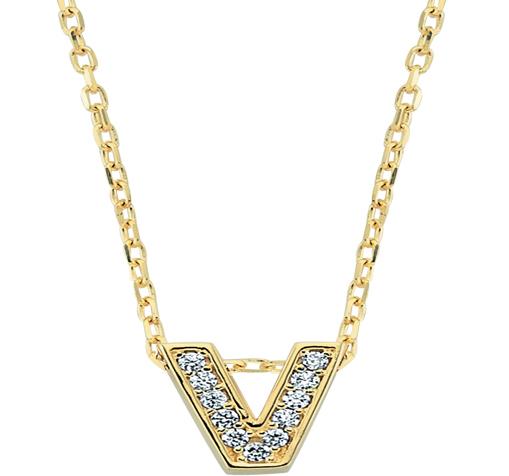 Women's Gemmed V Letter Pendant Gold Necklace