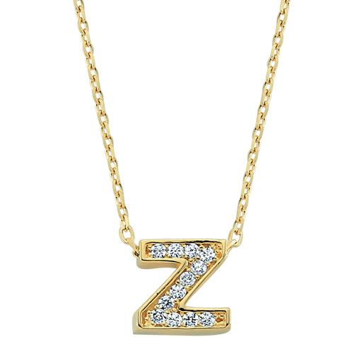 Women's Gemmed Z Letter Gold Necklace