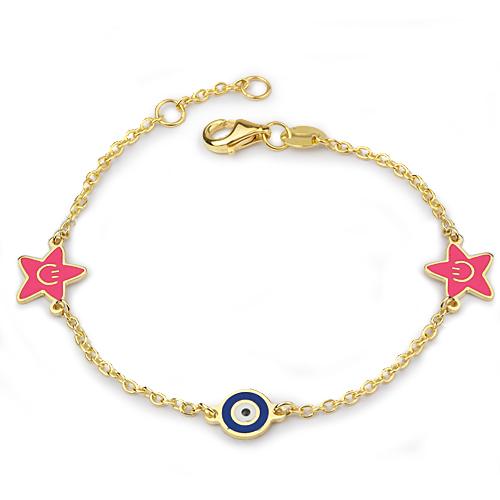Kid's Star Pendant Evil Eye Beaded Gold Bracelet