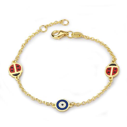 Kid's Evil Eye Beaded Ladybug Pendant Gold Bracelet