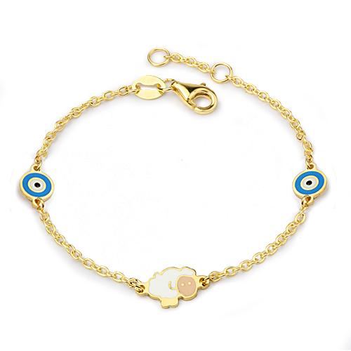 Girl's Evil Eye Beaded Gold Bracelet