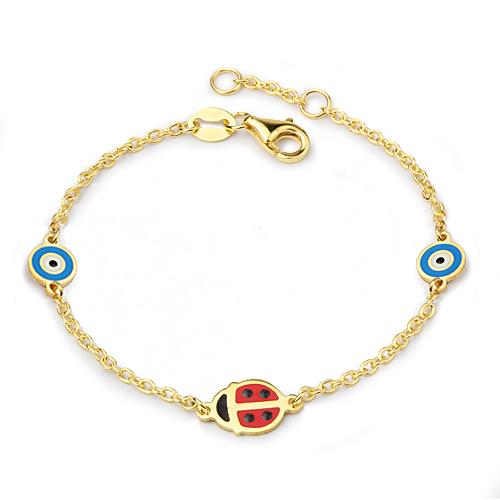 Kid's Ladybug Evil Eye Bead Bracelet