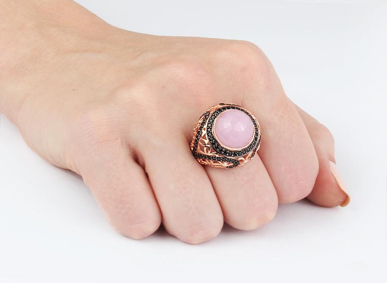 Women's Zircon Gemmed Ottoman Silver Ring