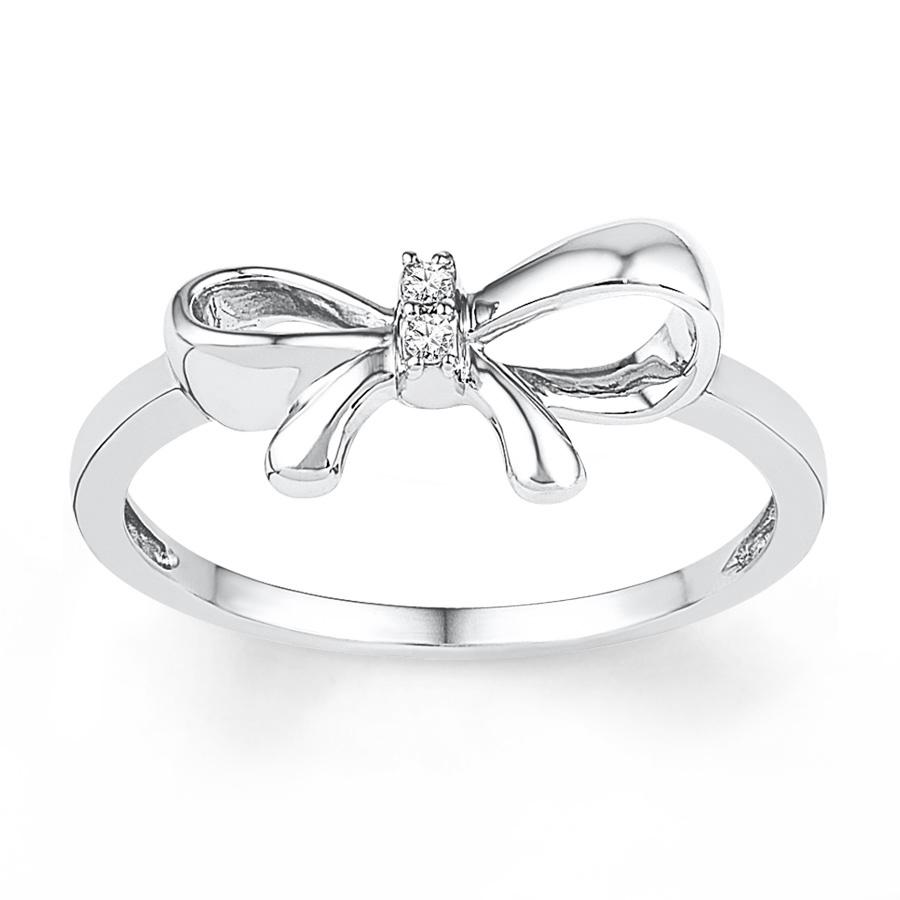 Women's Diamond Gemmed Bow-tie Design Gold Ring