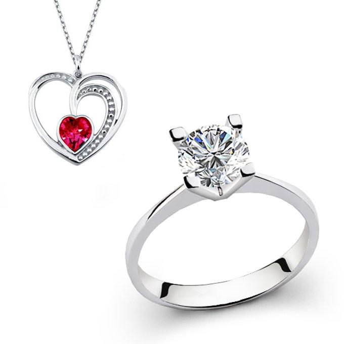 Women's Swarovski Single Stone Ring- Heart Pendant Necklace Gift