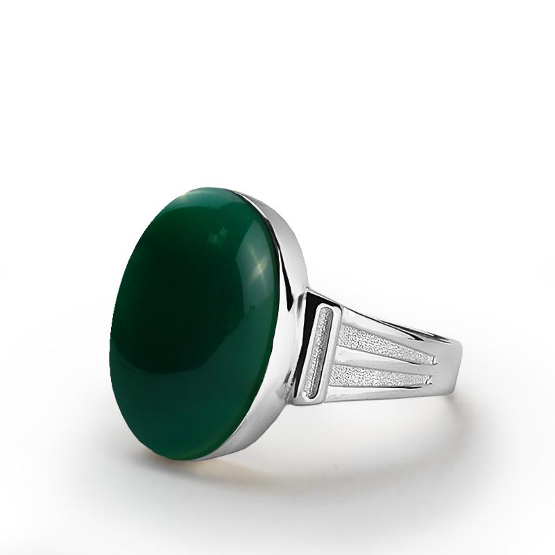 خاتم فضة عيار 925 بأحجار عقيق نباتي أخضر رجالي