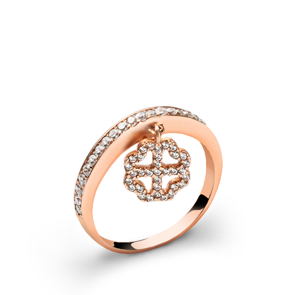 Women's Clover Design Silver Luck Ring
