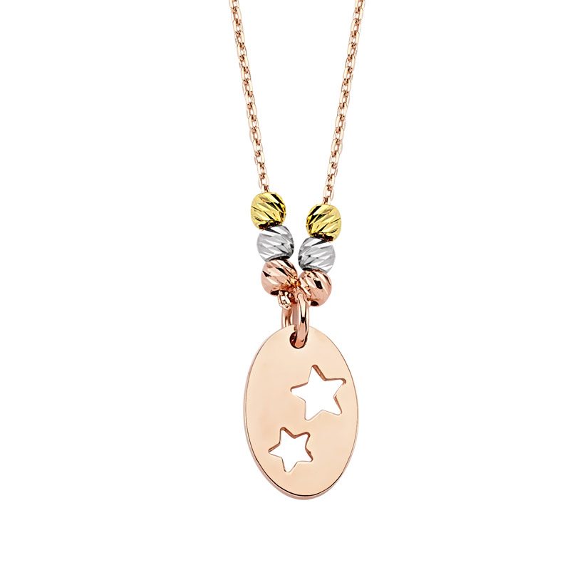 Women's Star Design Rose Plated Gold Necklace