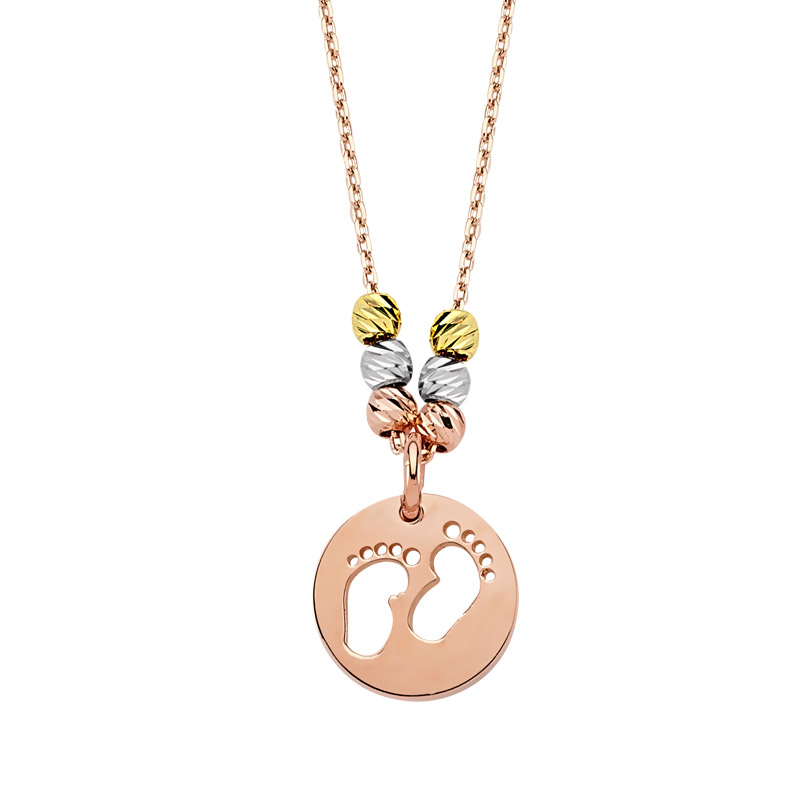 Women's Footprint Pendant Rose Plated Gold Necklace