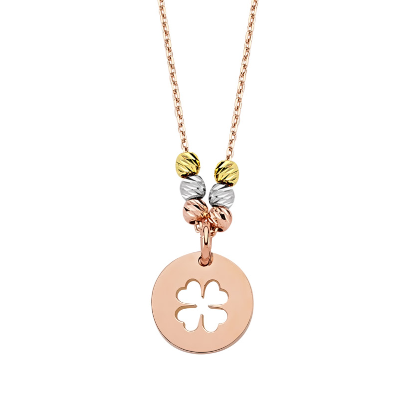Women's Clover Design Rose Plated Gold Necklace