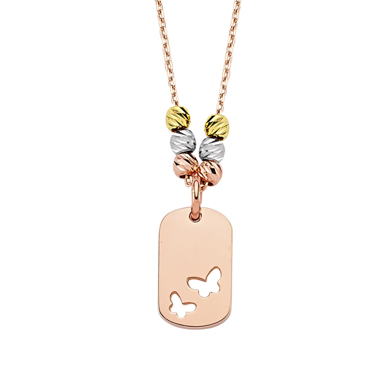 Women's Mini Butterfly Design Rose Plated Gold Necklace