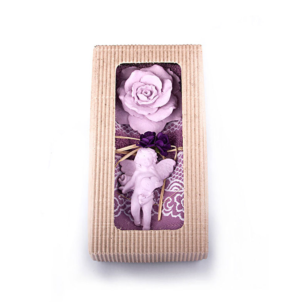 Purple Towel & Lavender Scented Stone Gift Set