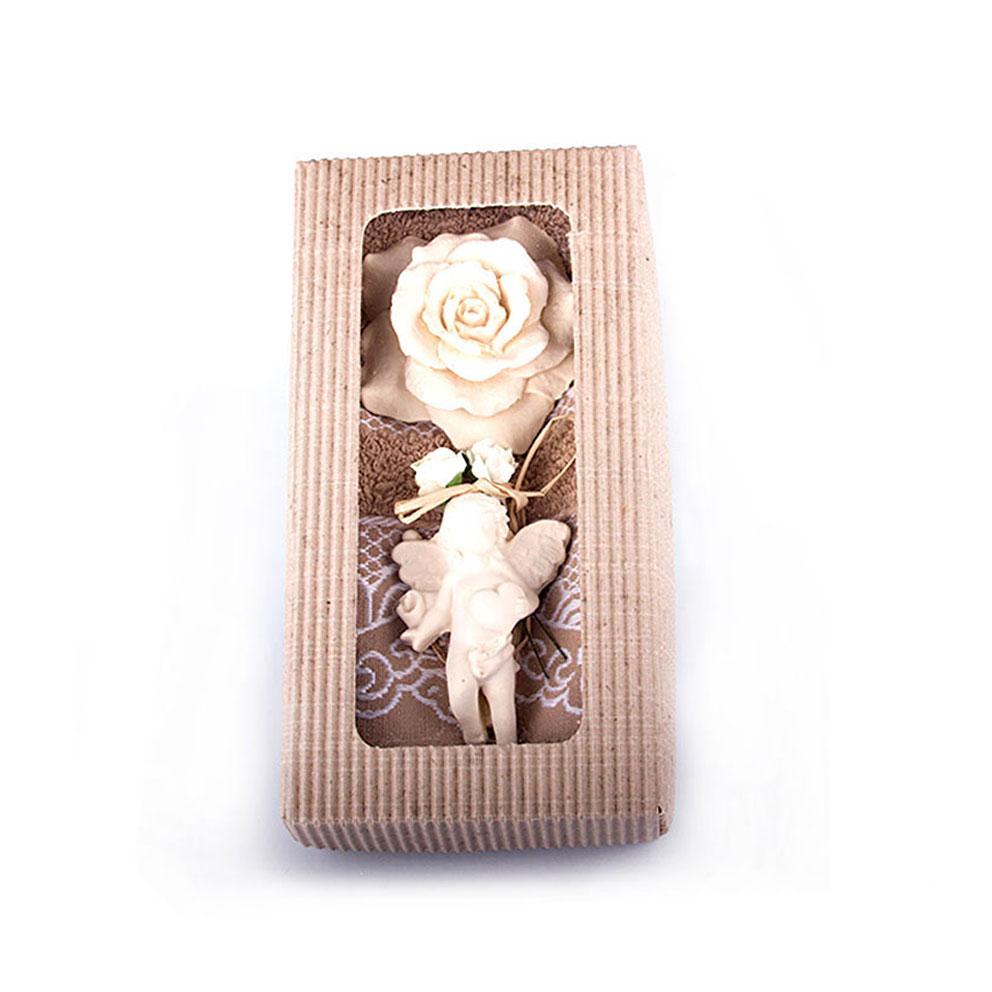 Brown Towel & Jasmine Scented Stone Ornament Gift Set