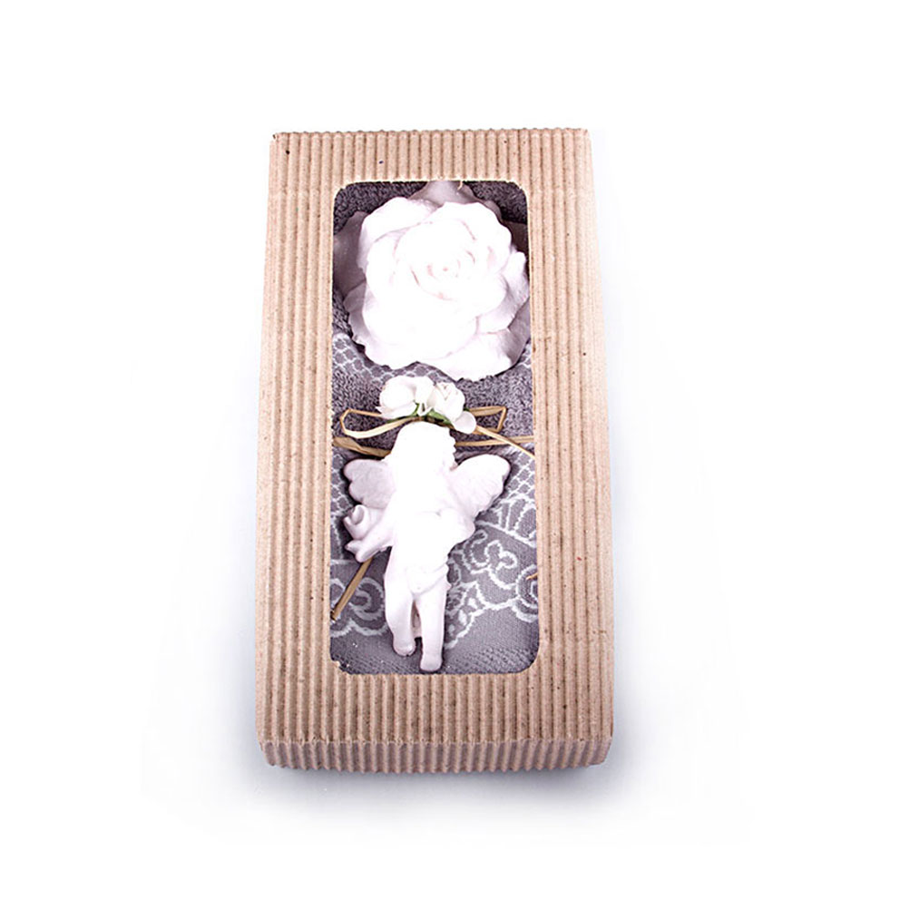 Mink Towel, White Soap & Scented Stone Gift Set