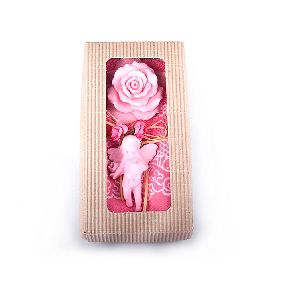 Pink Towel & Rose Scented Stone Gift Set