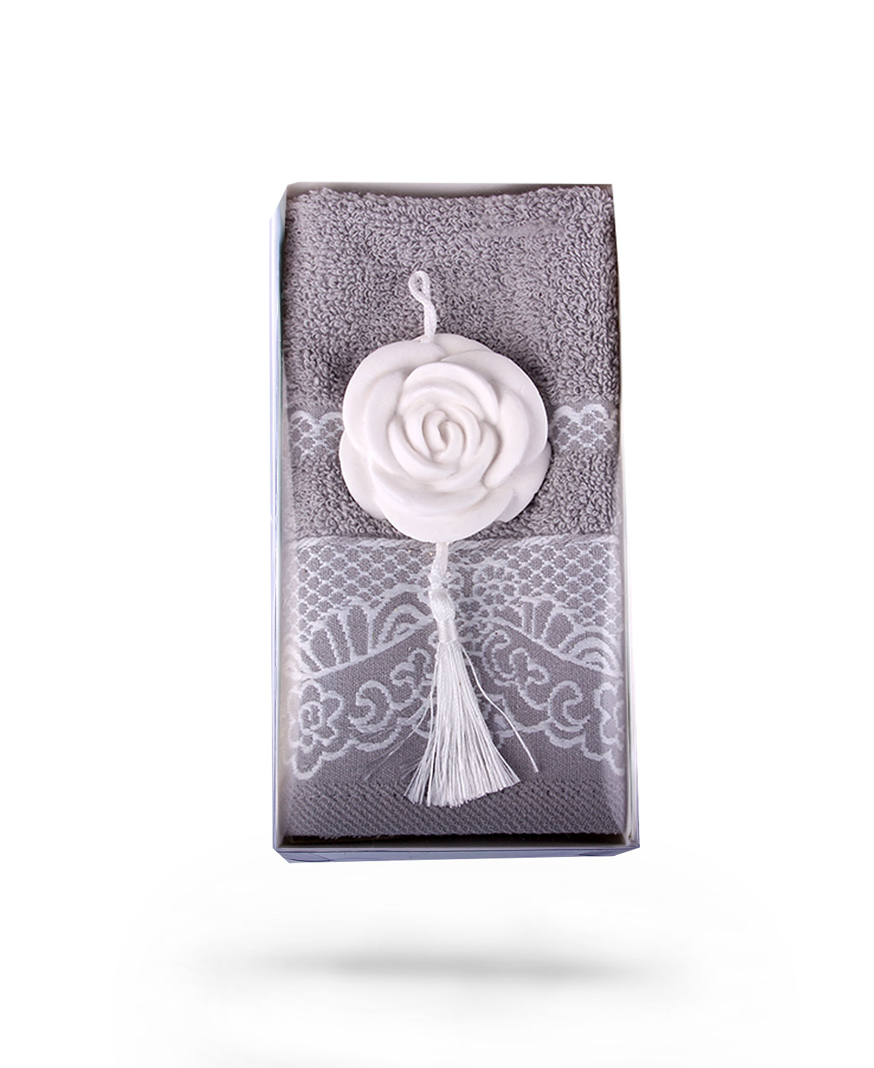 Mink Towel & White Soap Scented Stone Gift Set