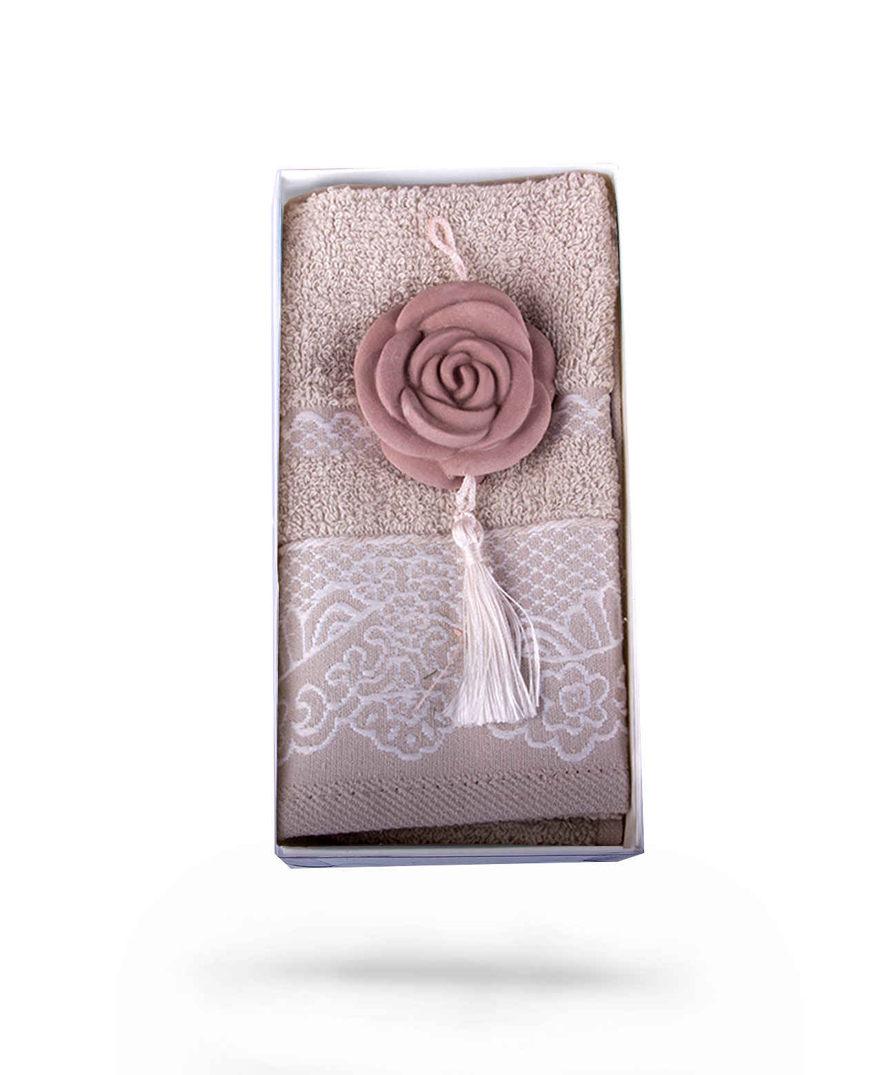 Beige Towel & Peach Scented Stone Wall Ornament Gift Set