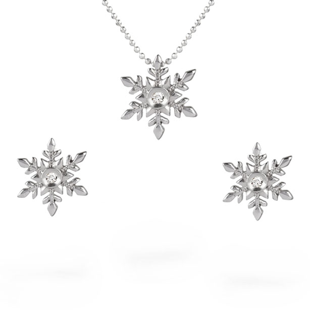 Women's Diamond Gemmed Snowflake Pendant Necklace & Earrings Set