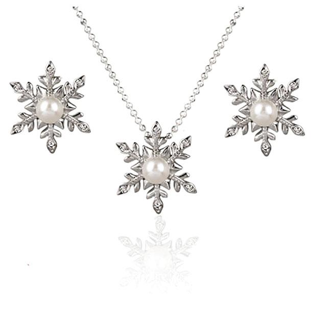 Diamond Gemmed Snowflake Pendant Necklace & Earrings Set