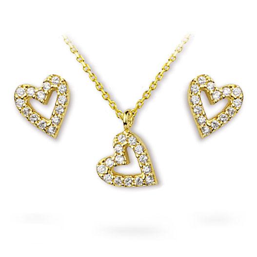 Women's Gemmed Heart Pendant Gold Necklace Earrings Set