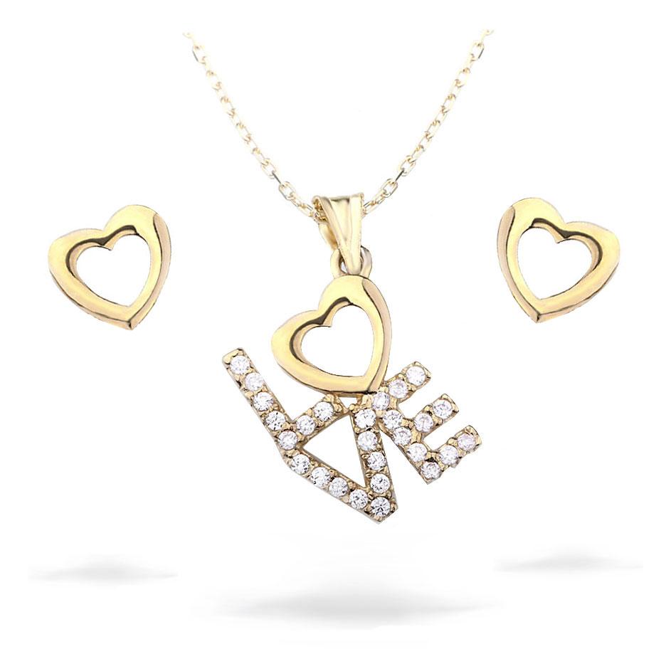 Heart Pendant Gold Necklace Earrings Set