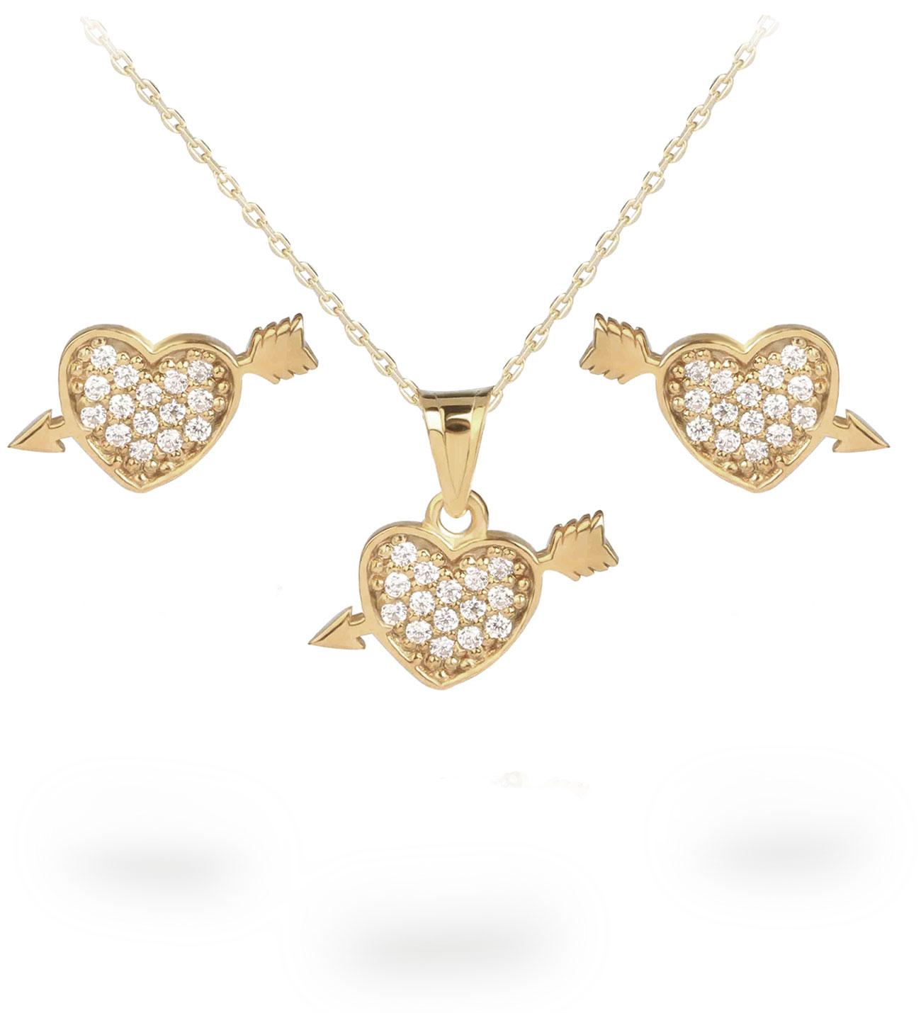 Gemmed Heart Pendant Necklace & Earrings Set