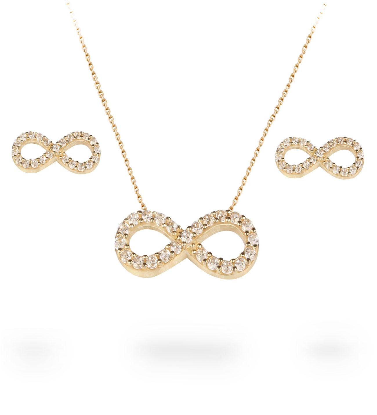 Women's Gemmed Infinity Pendant Gold Necklace & Earrings Set