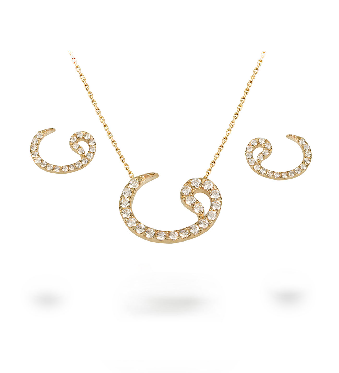 Women's Gemmed Vav Pendant Necklace & Earrings Set