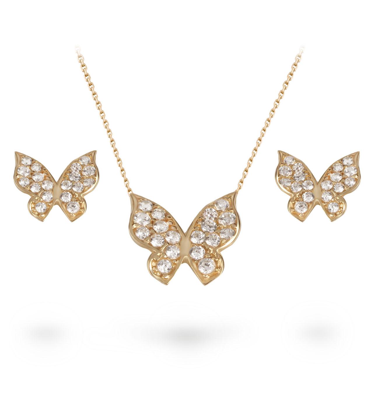 Women's Gemmed Butterfly Pendant Gold Necklace & Earrings Set